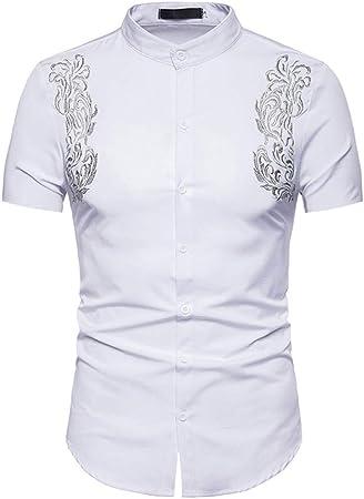 Hopeg - Camisa de Manga Corta para Hombre, Estilo Hipster, Informal, Ajustada, con Botones, con Bordado, Regalo de cumpleaños para Novio, Noble, Fiesta: Amazon.es: Hogar