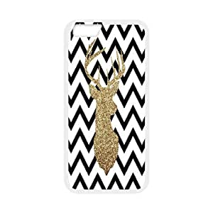 IPhone 6 Cases Glitter Deer Silhouette with Chevron, IPhone 6 Cases Art, [White]
