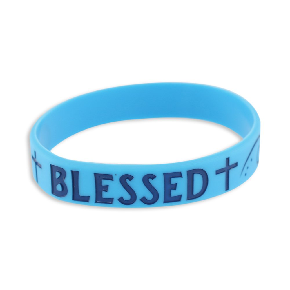 Forge BLESSED - Motivational Blue Silicone Wristband Blue Lettering (10 Bracelets)