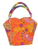 Indian Flower Pot Desiged Bag with Attractive Handicraft Thread Work for Female (Orange)