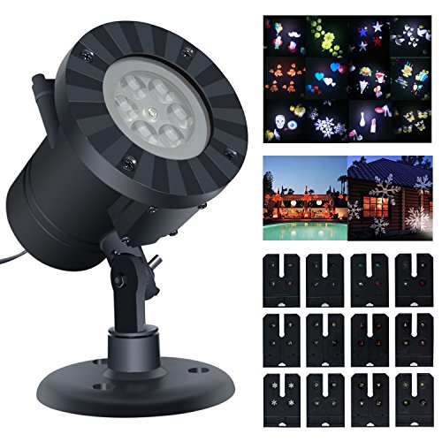 Projection Lights,SuBleer Party Projector Light,Decorative Lighting Projectors,Colorized Auto Moving Halloween LED String lights With 12 Lighting Modes,4 LED,Waterproof (Black)]()