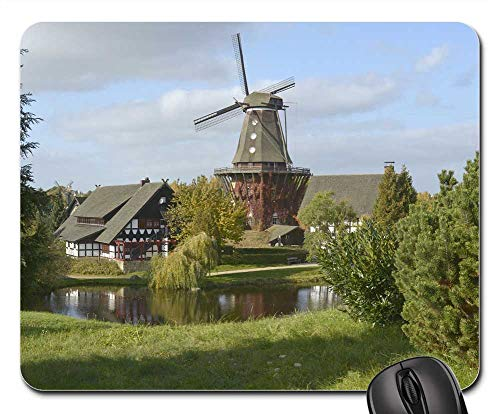 Mouse Pad - Idyll Village Wind Mill Nature Pond Water Meadow