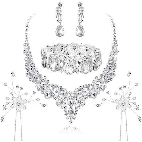Hanpabum Bridal Austrian Crystal Teardrop Cluster Statement Necklace Dangle Earrings Jewelry Set Gifts Fit with Wedding Dress