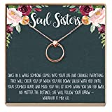 Dear Ava Necklace: Soul Sisters, BFF Necklace, Jewelry, Long Distance, Quotes, Friends Forever, 2 Linked Circles (Rose-Gold-Plated-Brass, NA)
