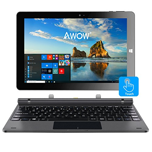 Windows 10 Home 2in1 Laptop Tablet PC Intel X5-Z8350 Quad-Core 1.44Ghz/IPS HD 1280 X 800/4GB/32GB/Dual Webcam/Wi-Fi/Bluetooth 4.0/Micro HDMI/Micro SD/USB/ Keyboard/Iron Gray ()