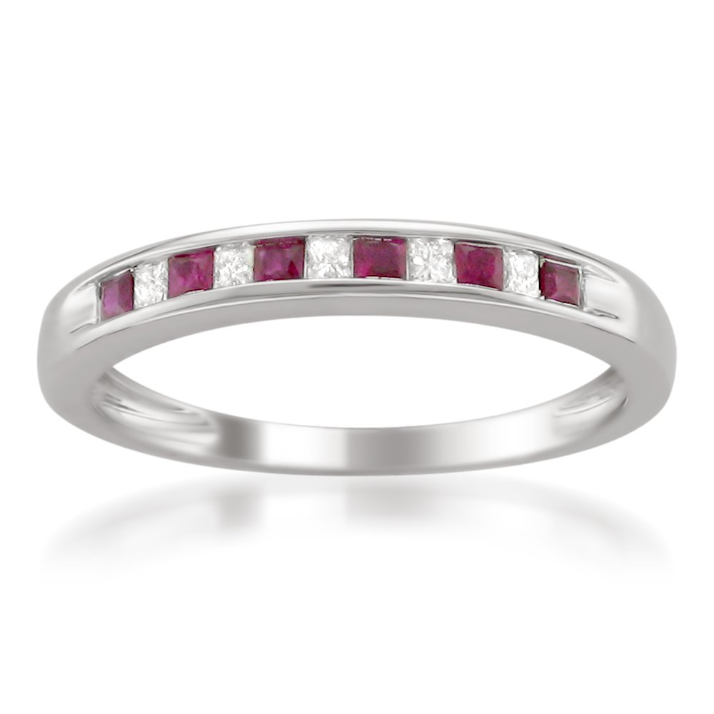 14k White Gold Princess-cut Diamond and Red Ruby Wedding Band Ring (1/3 cttw, H-I, I1-I2), Size 8