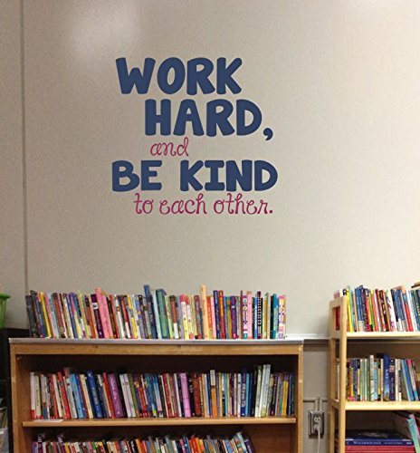 Work Hard, Be Kind To Each Other Vinyl Letters Stickers Wall Decals Art Inspirational Back to School Quote 23x22-Inch Deep Blue/Berry by Wall Decor Plus More (Image #1)