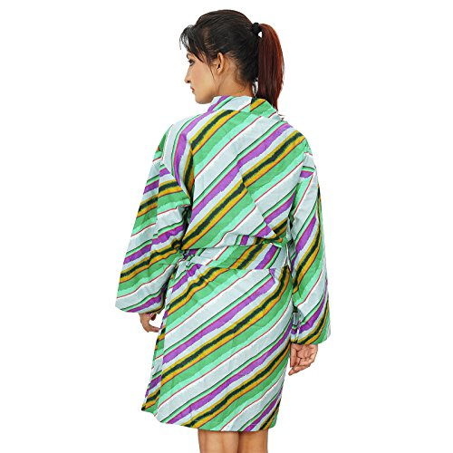 Las mujeres usan corto india impreso algodón traje del balneario dama de regalo Preparándose Robe Multicolor-3