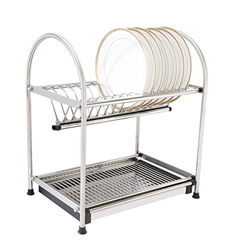 Dish Drying Rack with DrainBoard 304 Stainless Steel 2-Tier Countertop Dish Organizer Storage