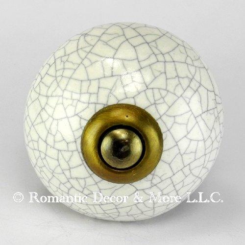White Crackle Ceramic Knob, Kitchen Drawer Pulls & Handles Set/2pc ~ C18RR Hand Glazed Vintage Ceramic Knobs with Antique Brass Hardware for Dresser Drawers, Cabinets & Vanity (Porcelain White Crackle Antique)