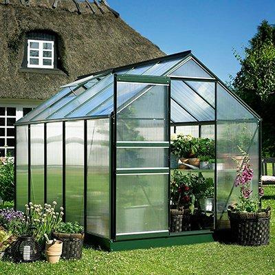 [Halls Forest Green Popular 6' x 8' Greenhouse] (Backyard Hobby Greenhouse)