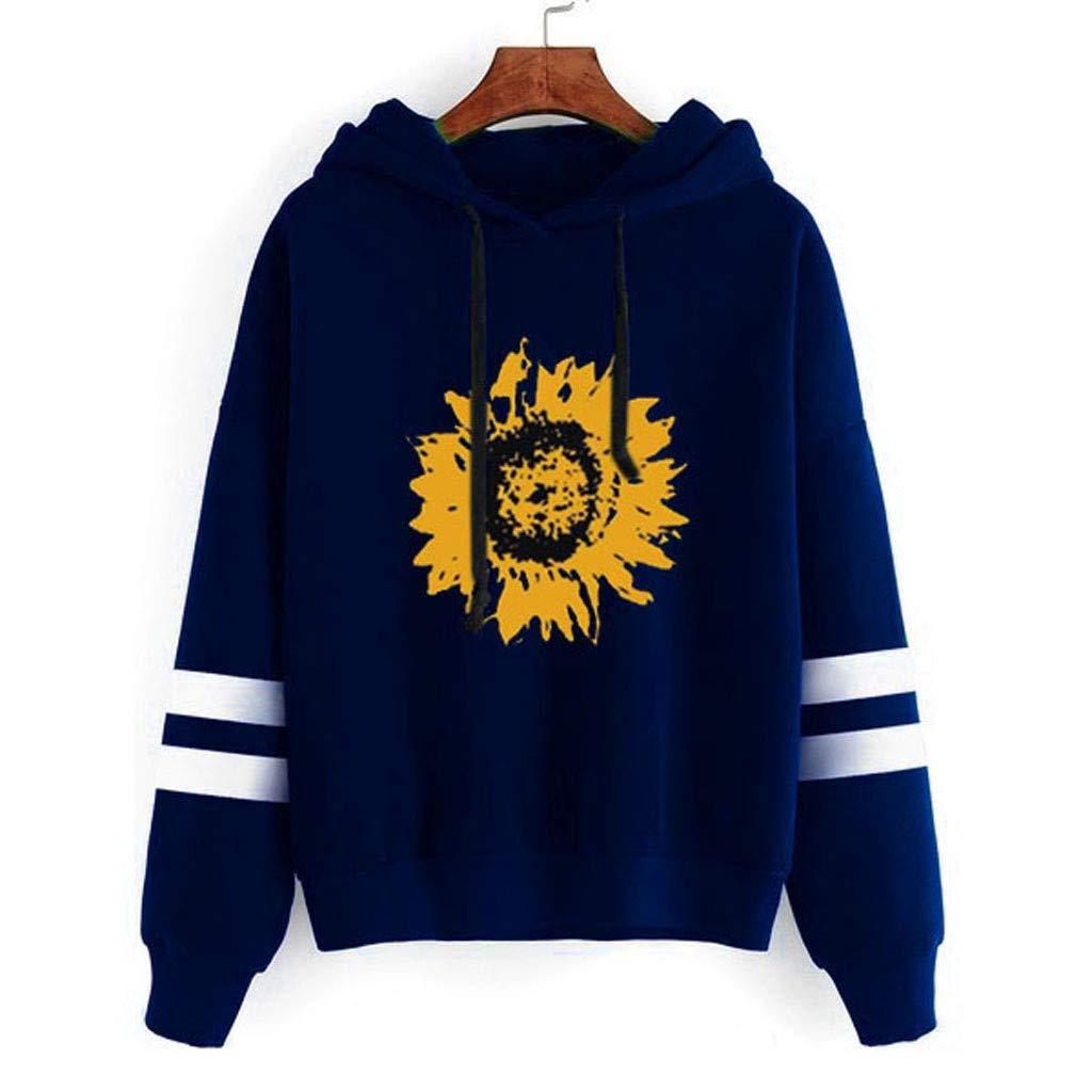 Yoyorule Autumn Pullover Top Womens Sunflower Print Long Sleeve Sweatshirt Hooded Pullover Tops Blouse