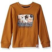 Carhartt Baby Little Boys' Long Sleeve Tee Shirt, Out Hunt Them Brown, 6M