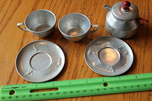- Tea Pot set cups saucers Nursery Rhymes Aluminum cat and the fiddle blind mice +