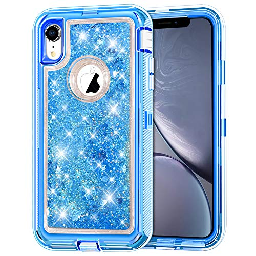 iPhone XR Case, Anuck 3 in 1 Hybrid Heavy Duty Defender Armor Case Sparkly Floating Liquid Glitter Protective Hard Shell Shockproof Anti-Slip TPU Bumper Cover for Apple iPhone XR 6.1 2018 - Blue