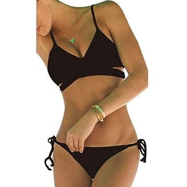 406fe879738a Vandot Damen Sexy Split Badeanzug Swimwear Bikini Push Up Bandeau  Neckholder Strand Fluoreszenz Bademode Swimsuit Bandage Tankini Beachwer  High Waist Hohe ...