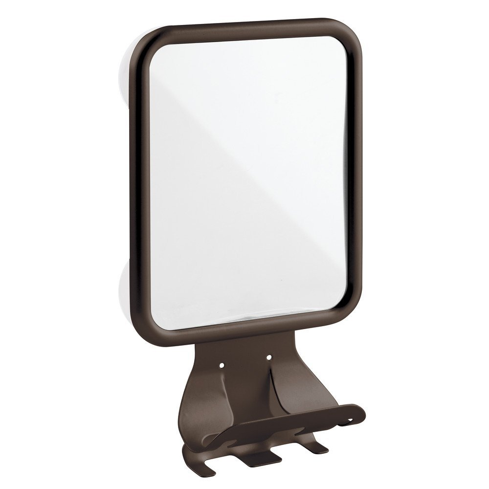 InterDesign Forma Suction Bathroom or Shower Shaving Mirror with Shaving Cream and Razor Holder  - Bronze