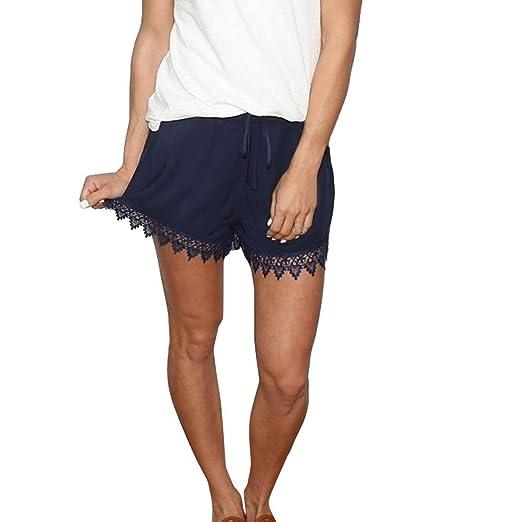 da2135c7116 Amazon.com  Bookear Clearance!Women Summer Solid Color Lace Spliced Casual Short  Pants  Clothing