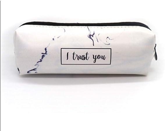 Estuche Caja de lápices de mármol Estuches Escolares for niñas Kawaii de Cuero Bolso Grande de la Pluma PencilCase Bolsa Papelería Escolar Estuches de Lápices (Color : White): Amazon.es: Hogar