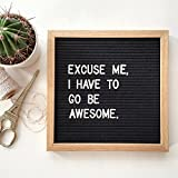#5: Changeable Letter Board With 340 Letters, Emojis, & Symbols, 10x10 Inches, Premium Oak Wood Frame, with Wall Mount And Free Drawstring Bag by Lunar