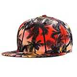 Sunlitro Unisex 3D Printing Flat Bill Baseball Cap Snapback Hip Hop Hat (Coconut Trees Red 051)