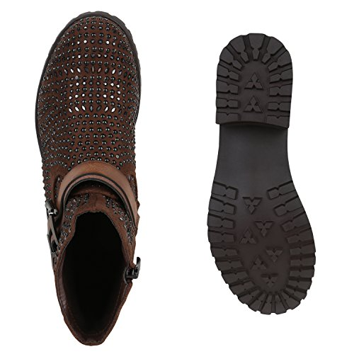 Stiefelparadies Damen Chelsea Boots Plateau Stiefeletten Profilsohle Schuhe Velours Metallic Booties Knöchelhohe Stiefel Blockabsatz Plateauschuhe Flandell Braun Strass