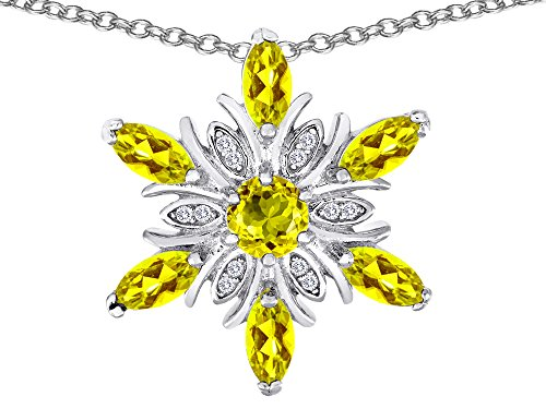 Star K Simulated Citrine Snowflake Pendant Necklace Sterling Silver ()