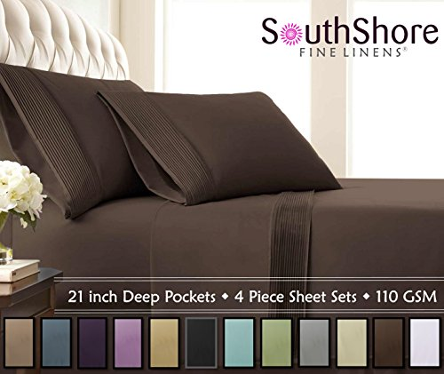 Southshore Fine Linens® - 3 Piece - Extra Deep Pocket Pleated Sheet Set , TWIN XL , CHOCOLATE BROWN