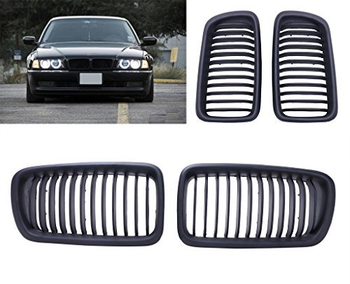 Price comparison product image Kitty Party Pair of Front Kidney Grilles Grill For BMW E38 4Door 1995-2001(Matte Black With M Color)