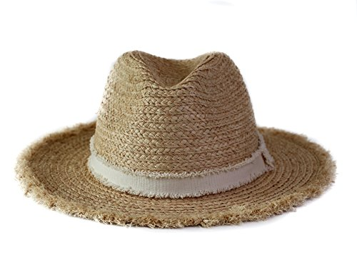 xuanchen Sun Straw Raffia Hat Brim Beach Straw Hat Camping, Hiking, Outdoor Action(Natural,Circumference 57cm)