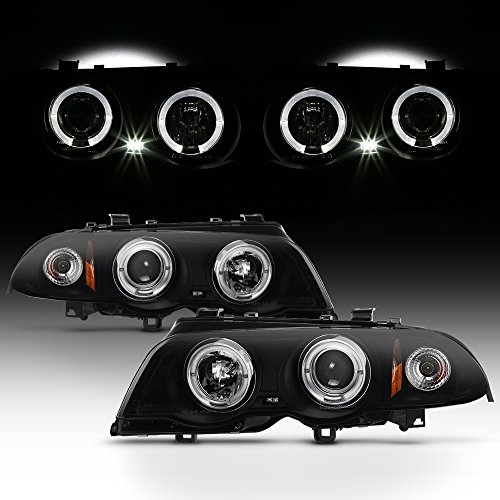 For BMW E46 3-Series 4 Doors Sedan Black Smoked Halo Ring LED Projector Headlights Replacement Left+Right