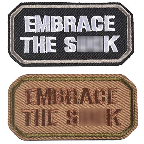 2 Pieces Embrace The Suck Funny Tactical Clothing Accessory Backpack Armband Sticker Embroidery Decorative Patch