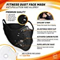 FITGAME Dust Mask Respirator DustProof Mask Anti-Pollution and Allergy [Fitness Mask] - Activated Carbon Filter for Sport and Outdoor Activities - Air Filters Included