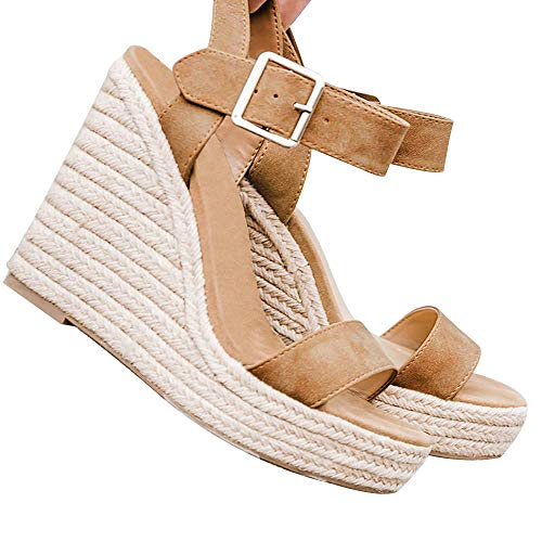 XMWEALTHY Women's Wedge Sandals Casual Sandals Shoes Summer Ankle Buckle Open Toe Platform Wedges Heels Size 9.5 Khaki (Small Wedge Sandals For Women)