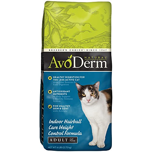 AvoDerm Natural Indoor Hairball Care Weight Control Formula Dry Cat Food, (Control Formula Canned Food)