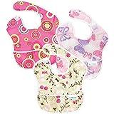 Bumkins Waterproof SuperBib 3 Pack, Girl (G6-Pink Fizz/Butterfly/Flutter Floral) (6-24 Months)