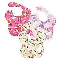 Bumkins Waterproof SuperBib 3 Pack, G6 (Pink Fizz/Butterfly/Flutter Floral) (...