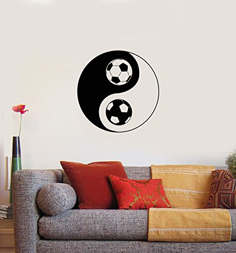 BorisMotley Wall Decal Yin Yang Symbol Oriental Soccer Vinyl Removable Mural Art Decoration Stickers for Home Bedroom Nursery Living Room Kitchen - Oriental Soccer Ball