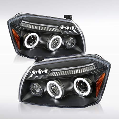 Autozensation For Black Dodge Magnum Halo Projector LED Headlights Pair (Dodge Magnum Srt8 Headlights)