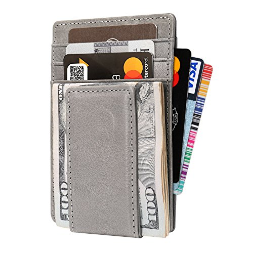 Mens Wallet Genuine Leather with Magnetic Money Clip TOOVREN Slim Minimalist RFID Blocking Protection Credit Card Holder/Front Pocket Wallets grey
