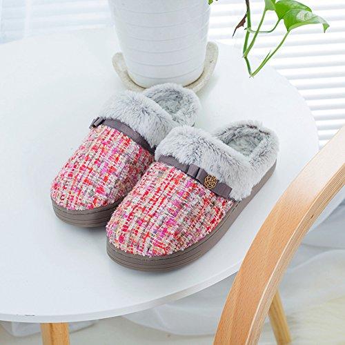 Btrada Womens Mens Fluffy Paio Di Pantofole Foderate In Pelliccia, Pantofole In Cotone Cz, Comode Pantofole Antiscivolo A Casa Rosa