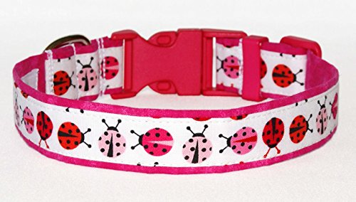 "Pink Ladybugs Dog Collar - 100% Cotton - White, Pink & Red - 1"" Wide - Size Large Adjusts 14"" - 21"""