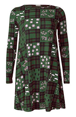 Oops Outlet Mujeres Navidad Vestidos Mujer Manga Larga Olaf Santa Regalos & Campanas Muñeco de nieve Navidad Swing Talla Grande 8–�?6 Xmas Tartan Green