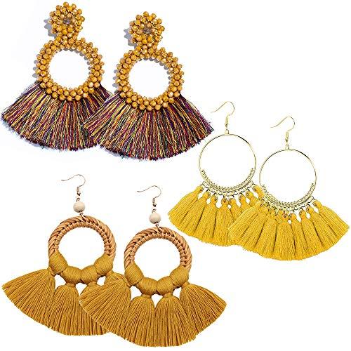 RIOSO Hoop Tassel Earring Beaded Fringe Dangle Earrings Statement Fan Tassel Drop Earring for Women Girls ()