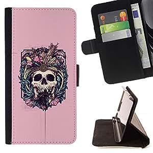 Momo Phone Case / Flip Funda de Cuero Case Cover - Nativo del vampiro Cráneo floral rosado - HTC One Mini 2 M8 MINI