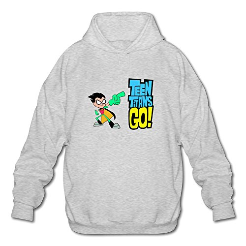 AOPO Teen Titans Go Robin Comic Men's Long Sleeve Hooded Sweatshirt / Hoodie Medium Ash (Robin Custome)