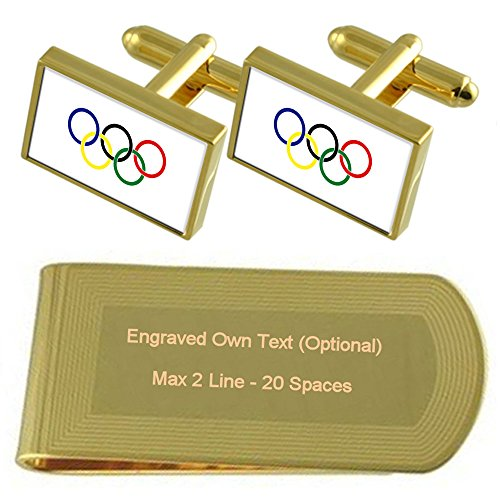 tone Movement Cufflinks Money Gold Set Gift Flag Clip Olympic Engraved dtwaqSS