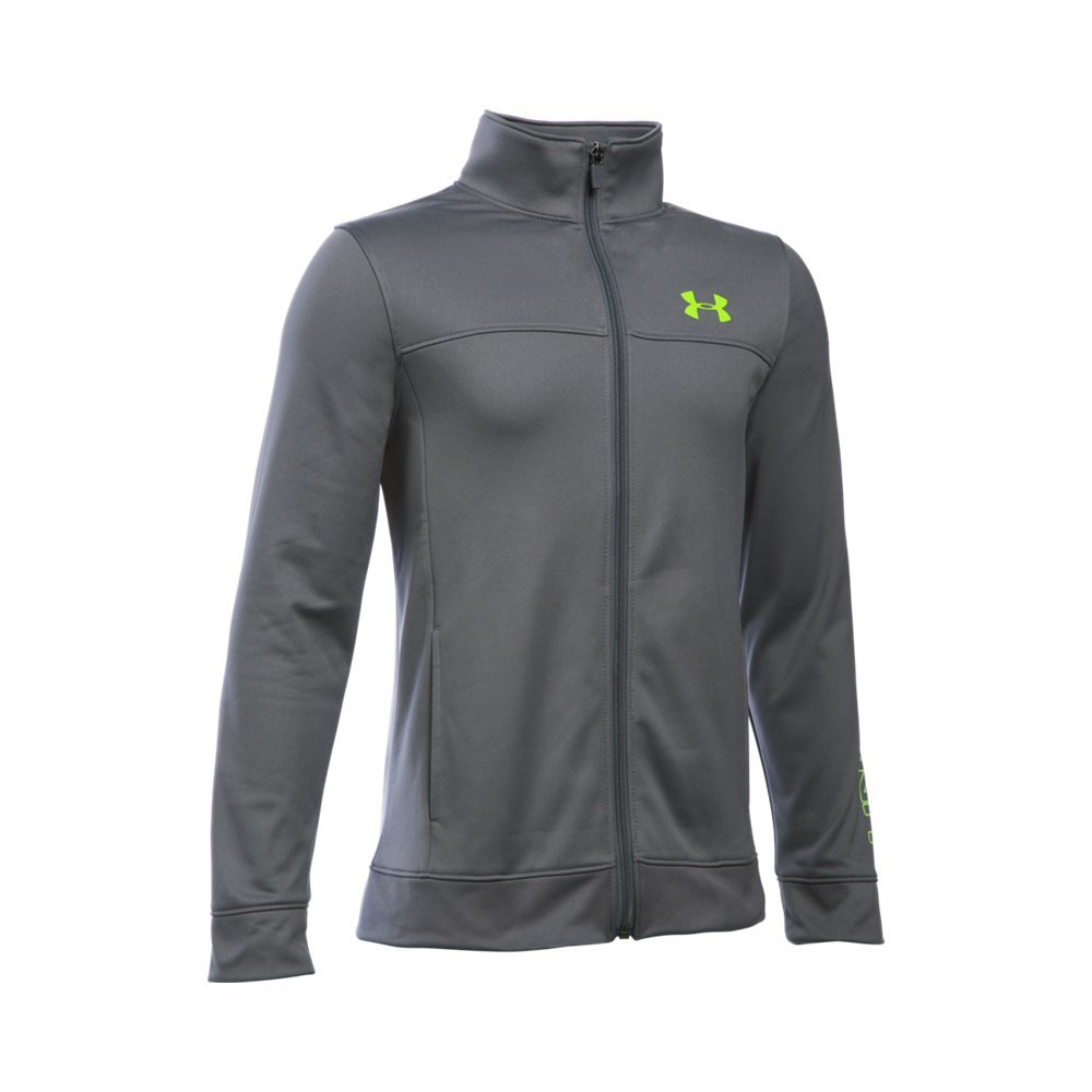 Under Armour Boys' Pennant Warm Up Jacket, Graphite/Fuel Green, Youth Small