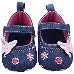 Voberry® Baby Girls Soft Soled Butterfly Crib Moccasins Canvas Mary Jane Shoes (6~12 Month , Blue)
