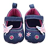 Cheap Baby Cribs Voberry® Baby Girls Soft soled Butterfly Crib Moccasins Canvas Mary Jane Shoes (0~6 Month, Blue)